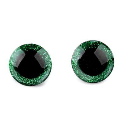 Glitteres biztonsági szem 16mm zöld