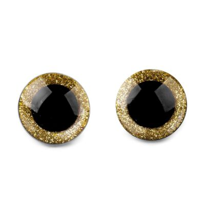 Glitteres biztonsági szem 16mm arany barna